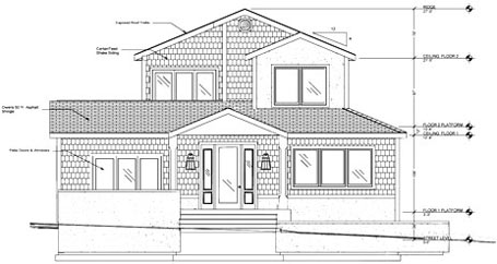 Elevation view of front of a house