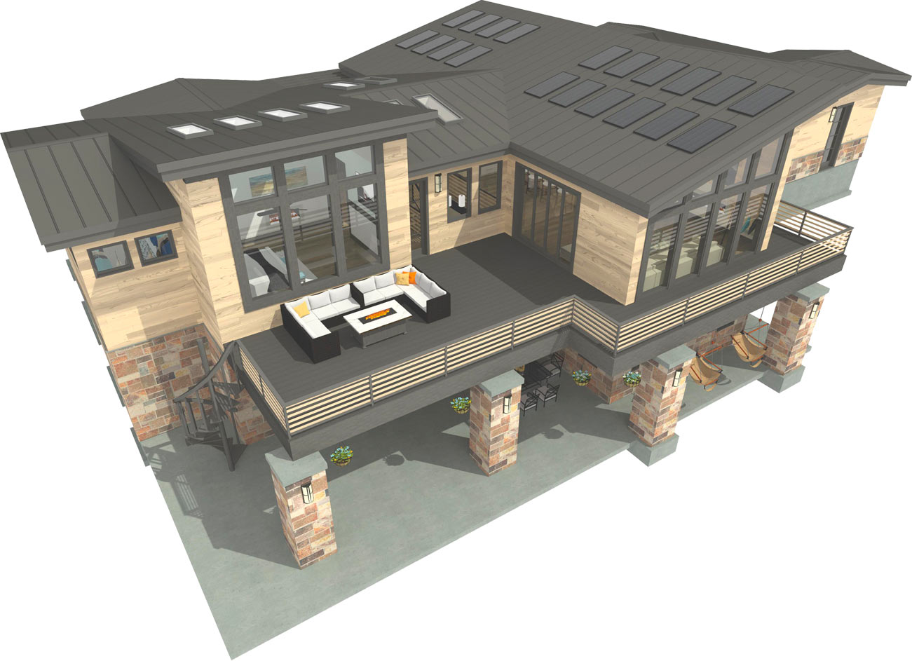 Bachelor View sample plan exterior 3D rendering.