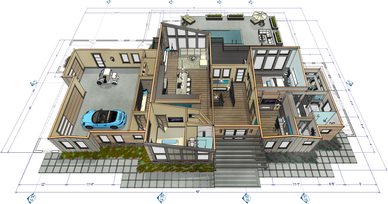 Bachelor View dollhouse 3D rendering.