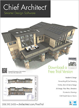 Bachelor View sample plan exterior rendering magazine ad.