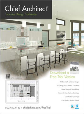 Bachelor View sample plan kitchen rendering magazine ad.