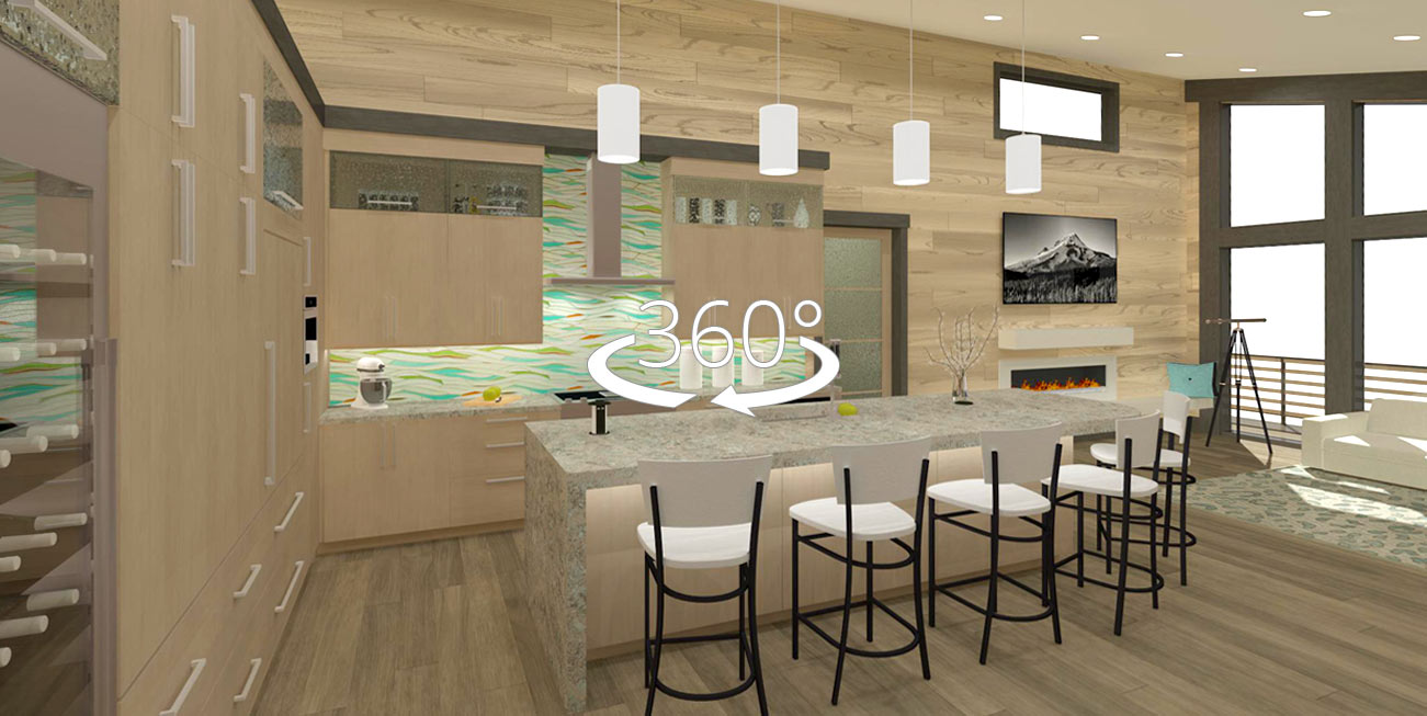 Bachelor View kitchen 360 panoramic rendering.