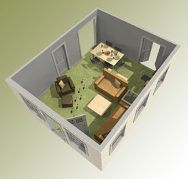 3D view of a crime scene.