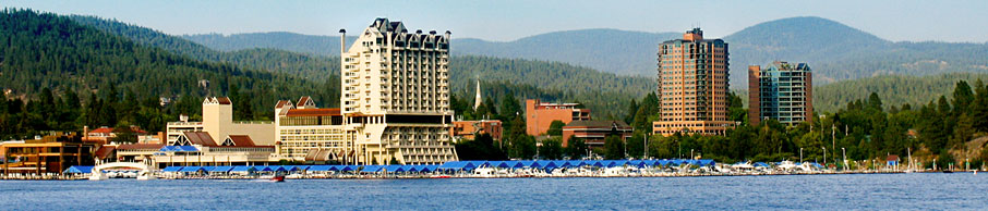 A panorama of downtown Coeur d'Alene from the lake.