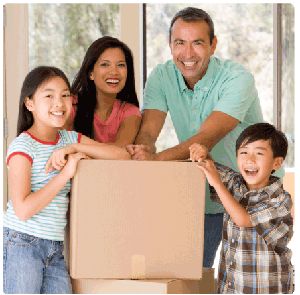 Photo of a happy family moving into a new home