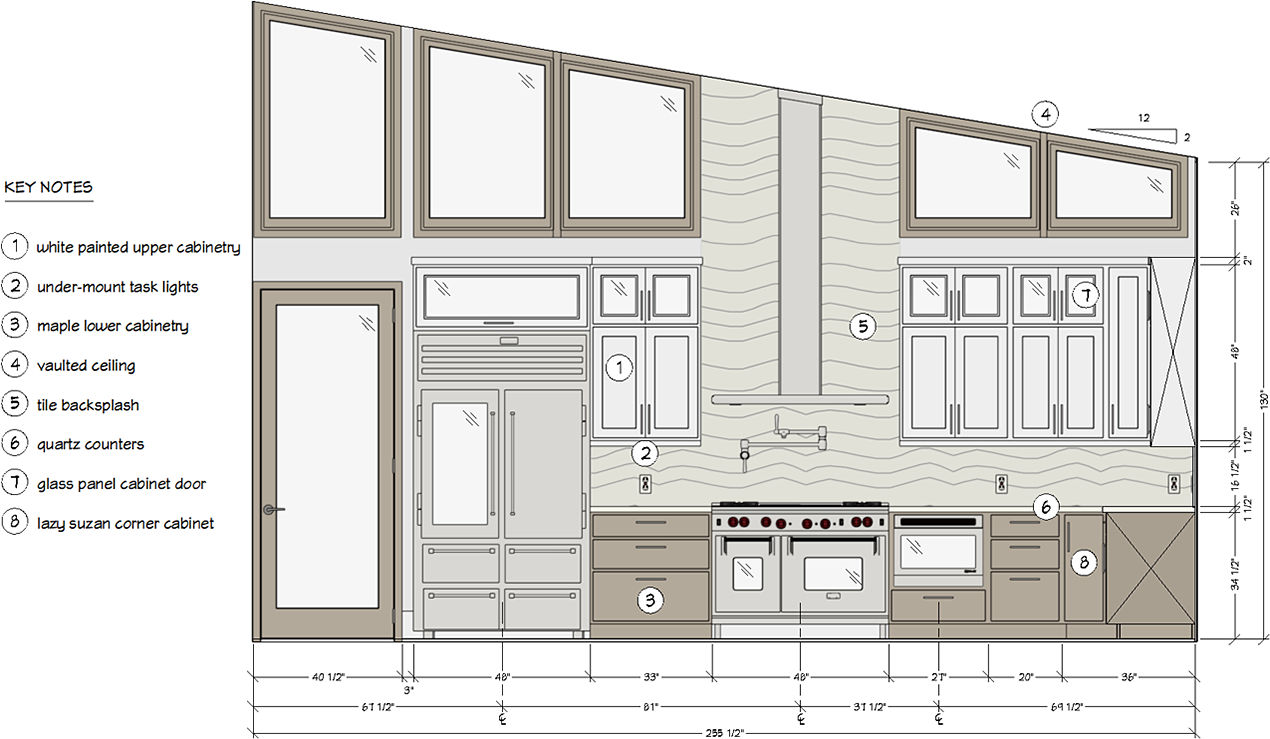Cross section of the Breckenridge kitchen.