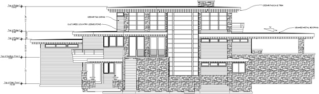 Front elevation of a modern house with callouts