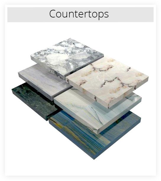 Several countertop material samples