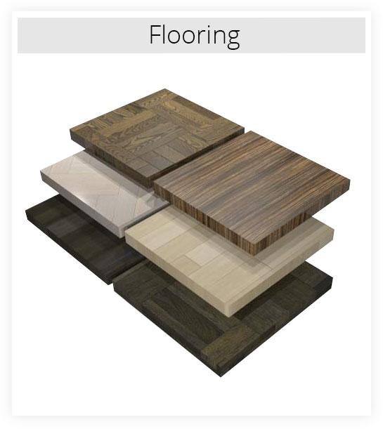 Several flooring material samples
