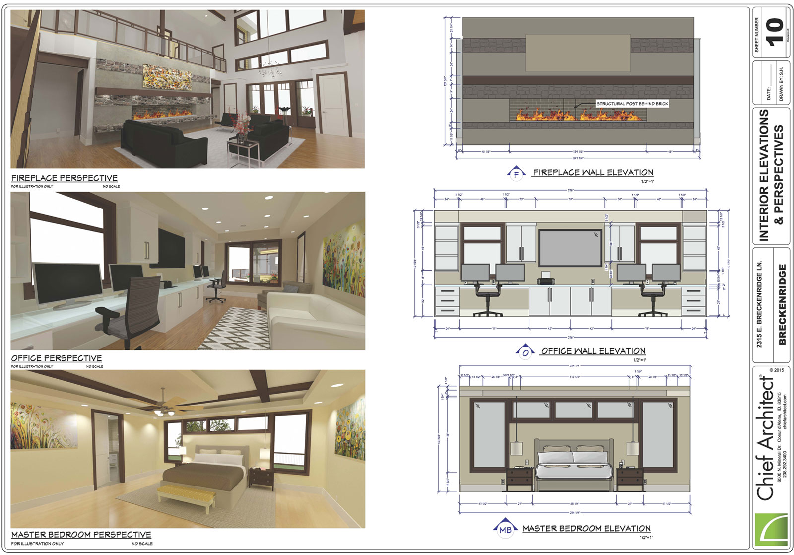 Interior design layout with wall elevations and dimensions
