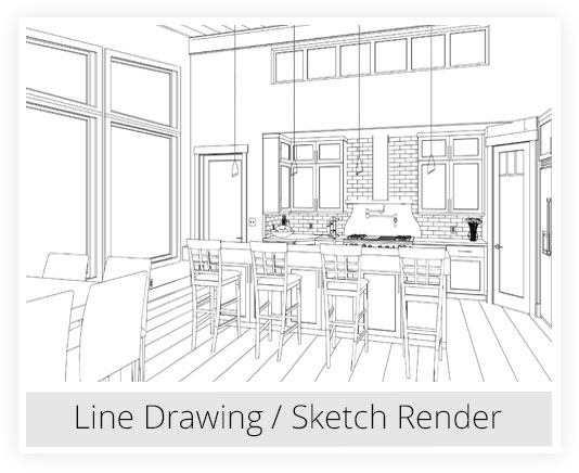 Kitchen line drawing / sketch rendering