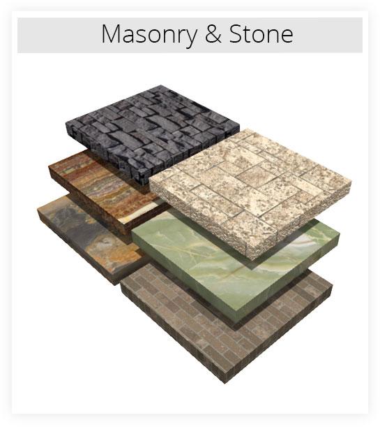 Several masonry and stone material samples