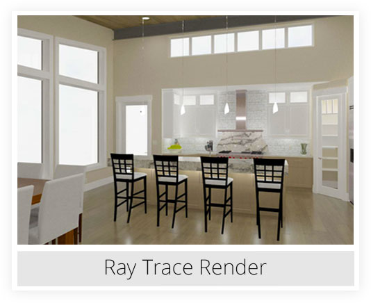 Realistic kitchen ray trace rendering