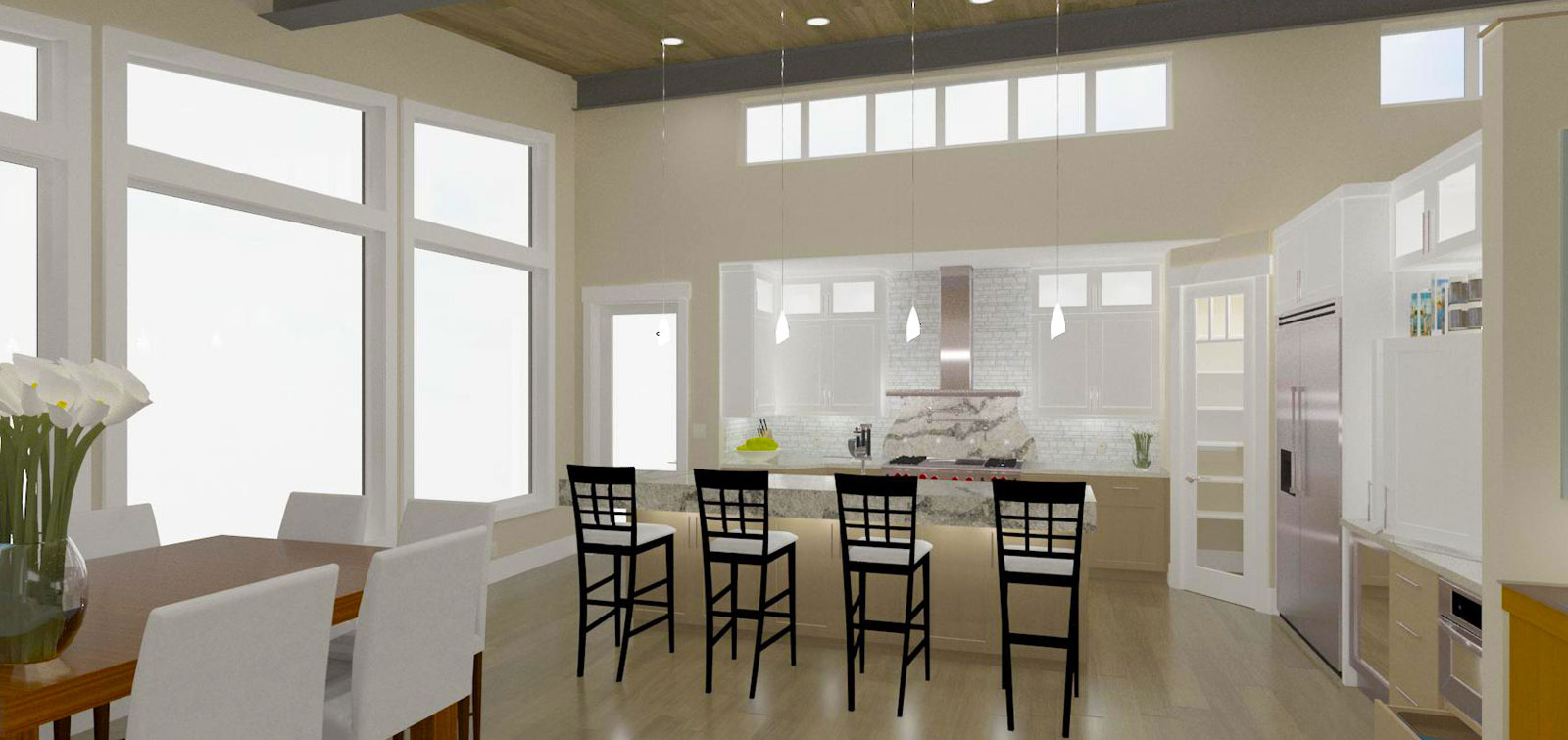 Interior software design in action split screen slider of realistic 3d rendering