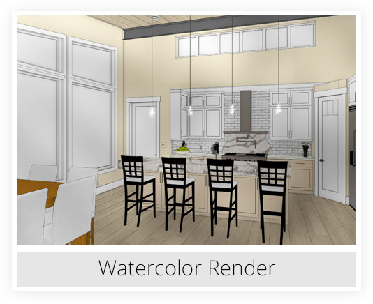 Kitchen watercolor rendering