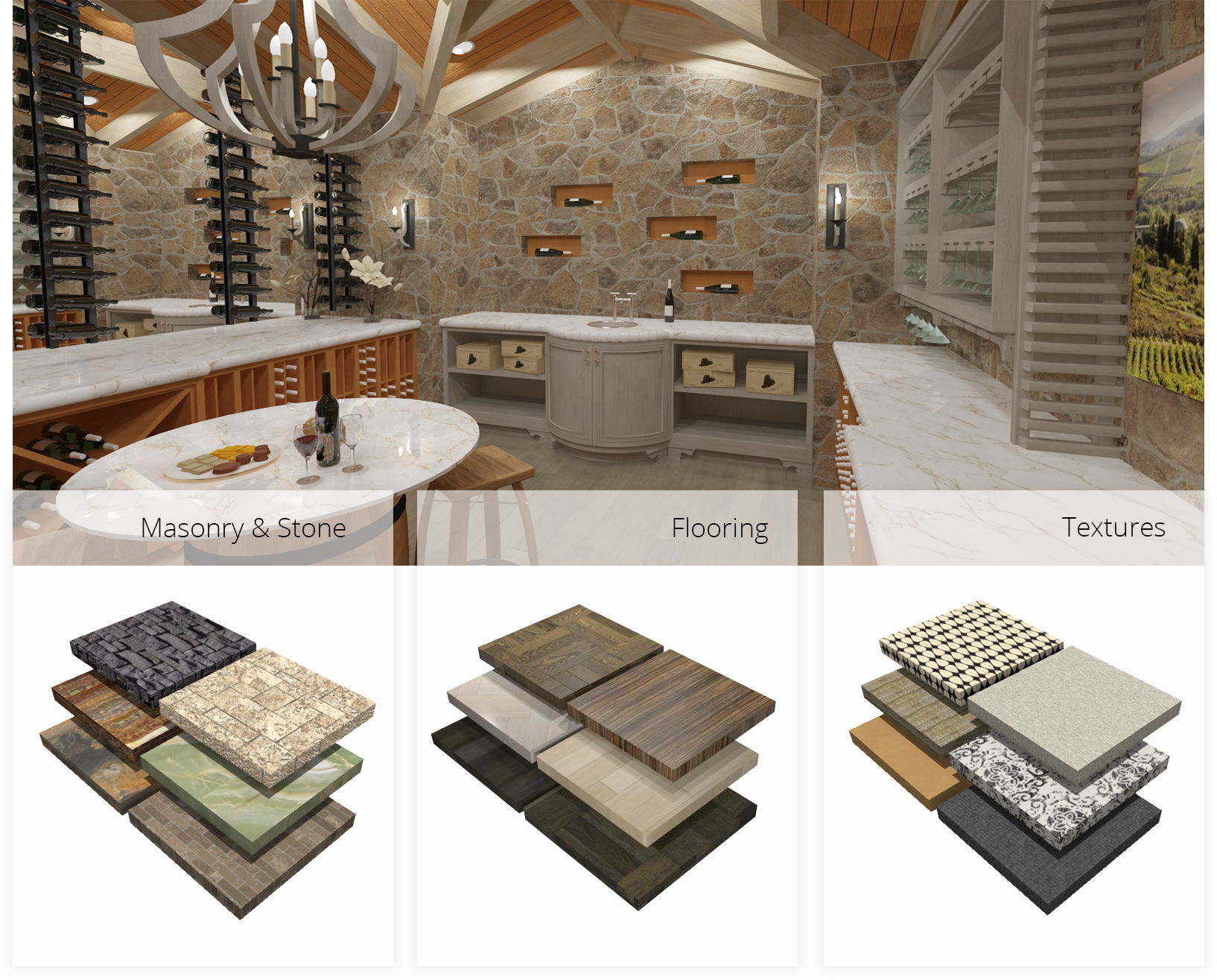 Residential wine cellar with optional material selections