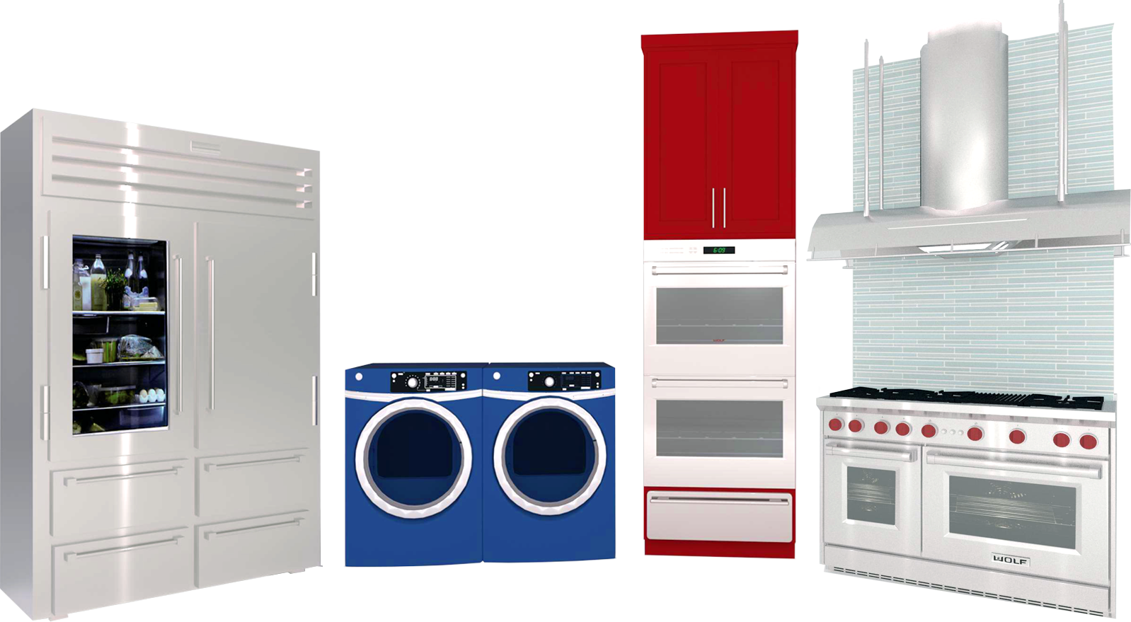 A collection of 3D Library appliances including a refrigerator, washer/dryer combo, built-in oven, and range hood over a stove