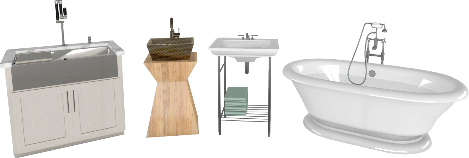 A farmhouse kitchen sink alongside two styles of bathroom sinks and a bathtub