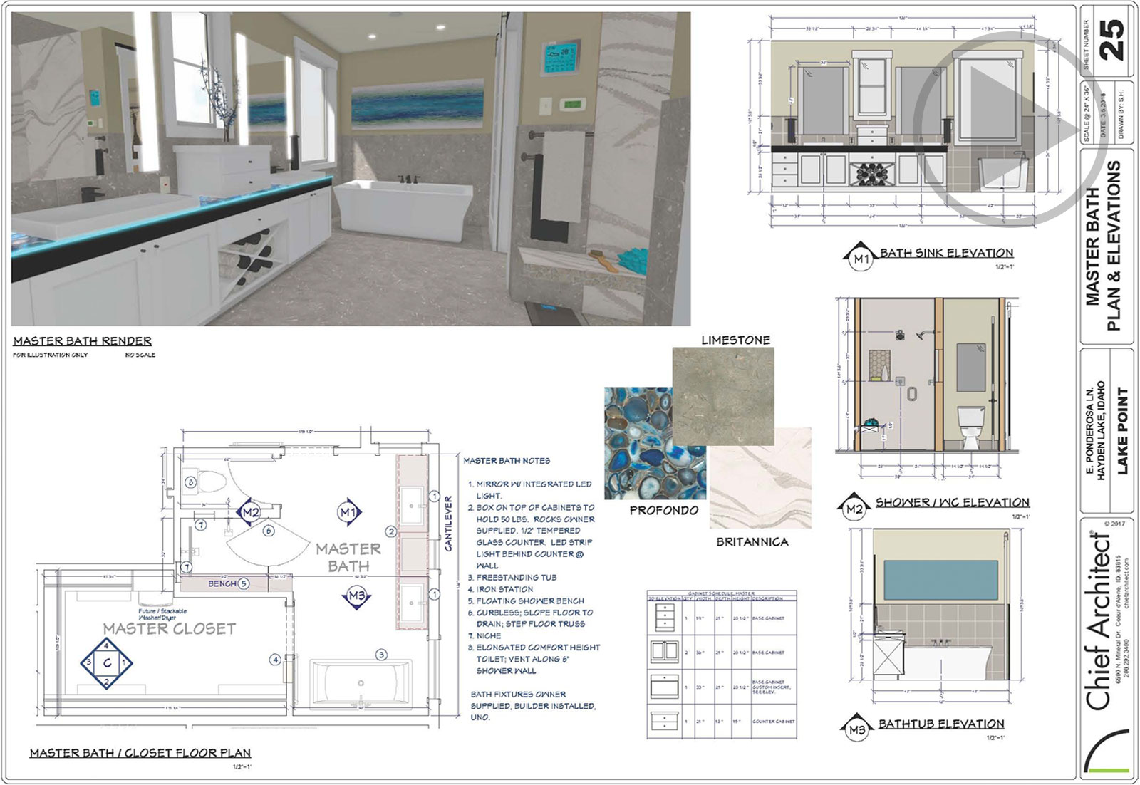 Master bath design plan set with elevations, floor plan, 3D rendering, and material options