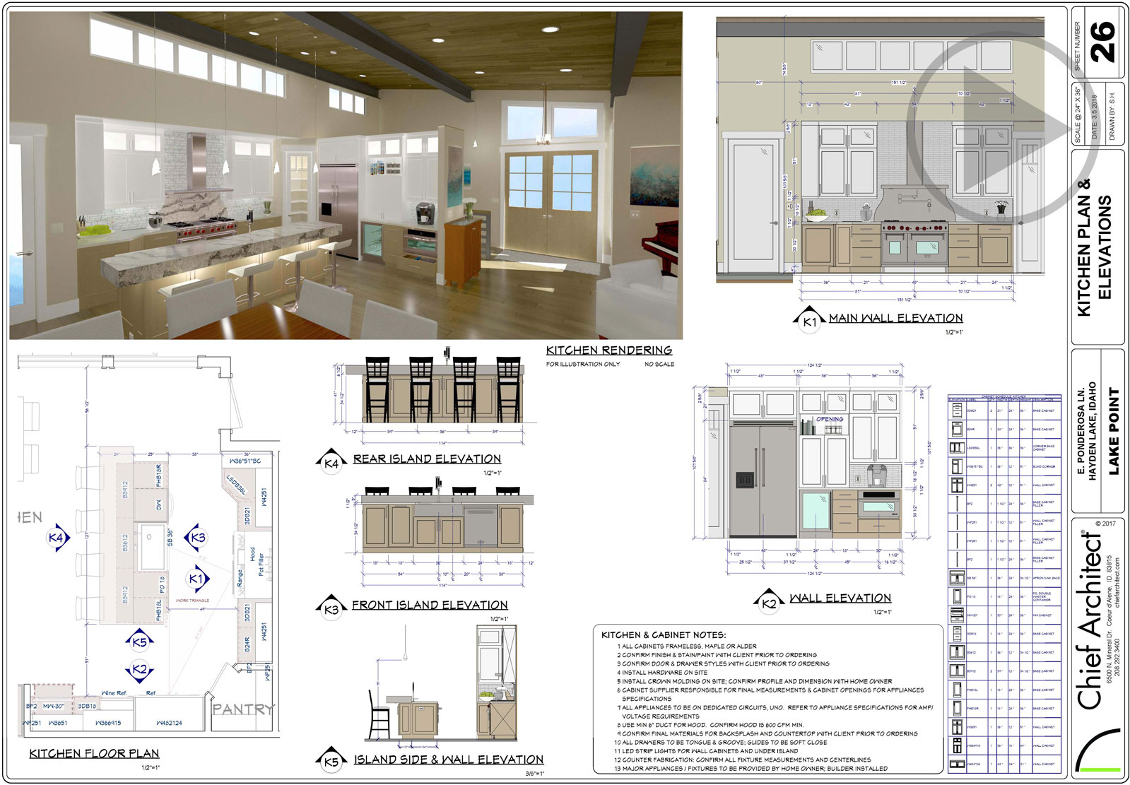 Kitchen design plan set with a floor plan, wall elevations, 3D rendering and cabinet schedule