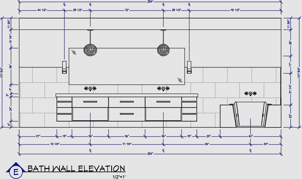 Elevation Plan Template : Magnificent bathroom plan elevation inspiration