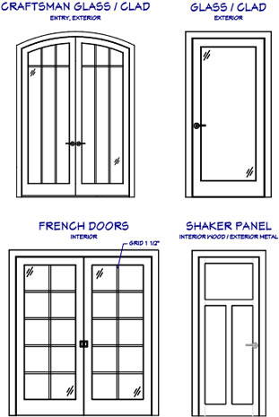 CAD details of various door styles