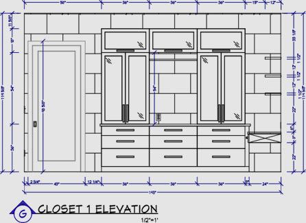 Closet wall elevation