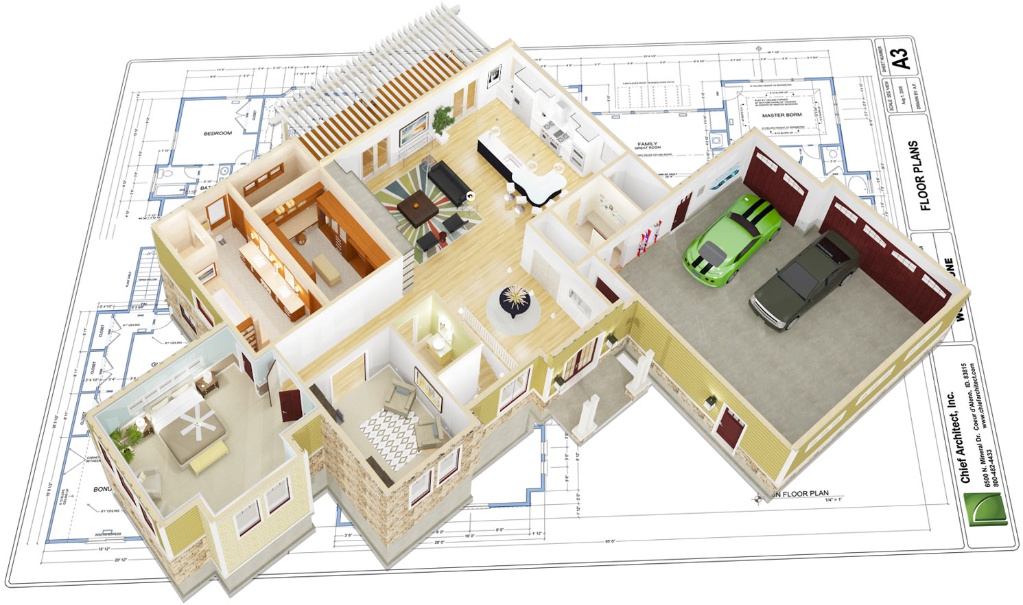 3D floor overview on top of construction documents