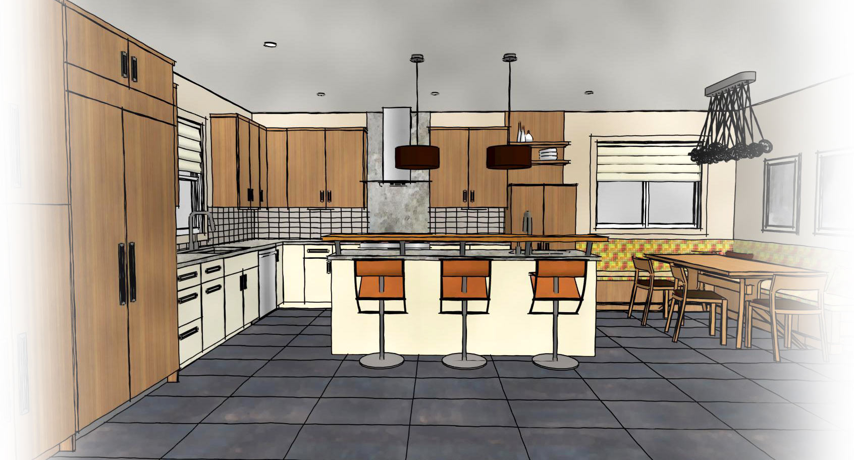 Kitchen Rendered As A Line Drawing