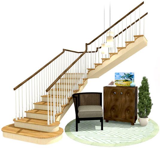 Living area with stairs
