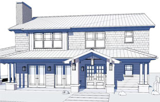 Technical Drawing Of Modern Bungalow