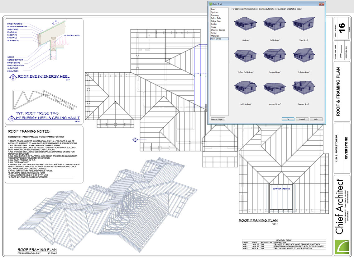 Chief architect home design software for builders and Roof drawing software