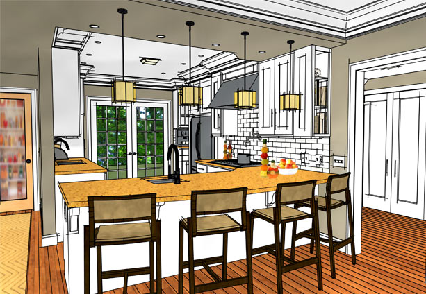 Water color rendering of a kitchen