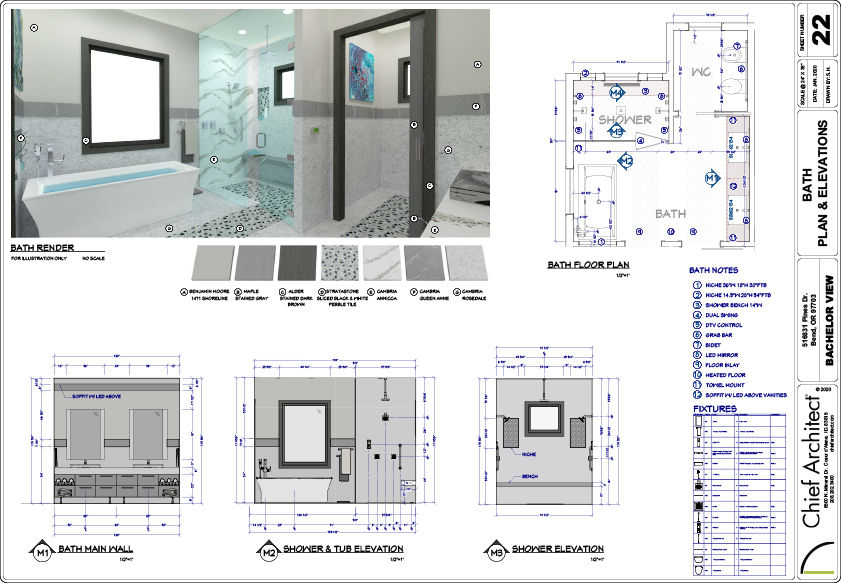 Layout page of the Bachelor View bathroom