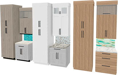Cabinet groupings with different styles
