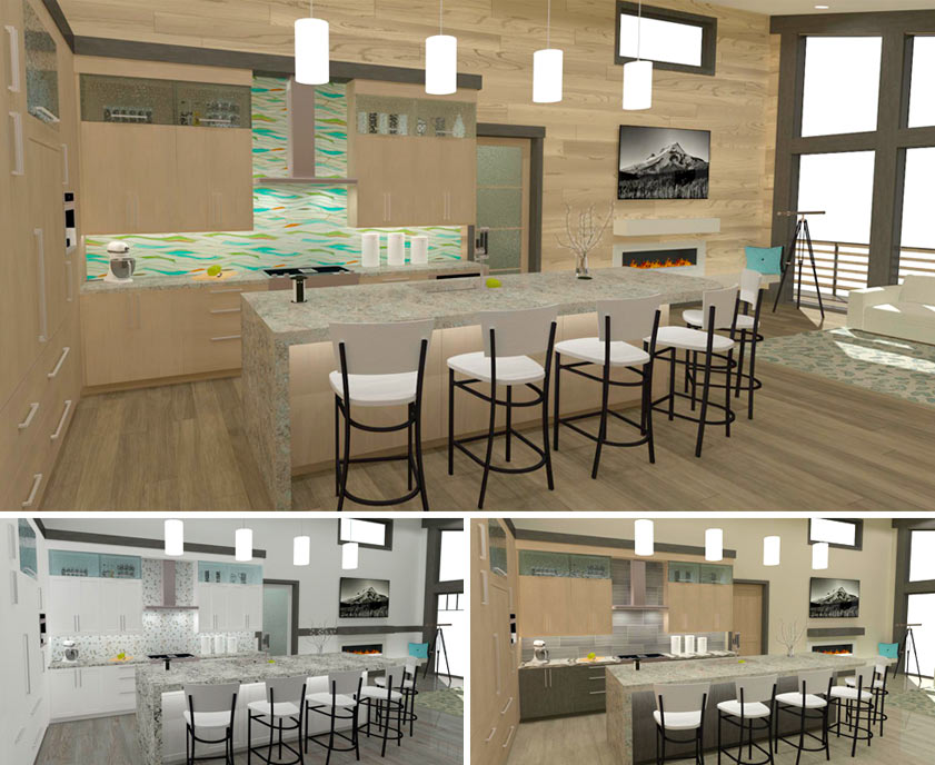 Various kitchen styles for the Bachelor View kitchen