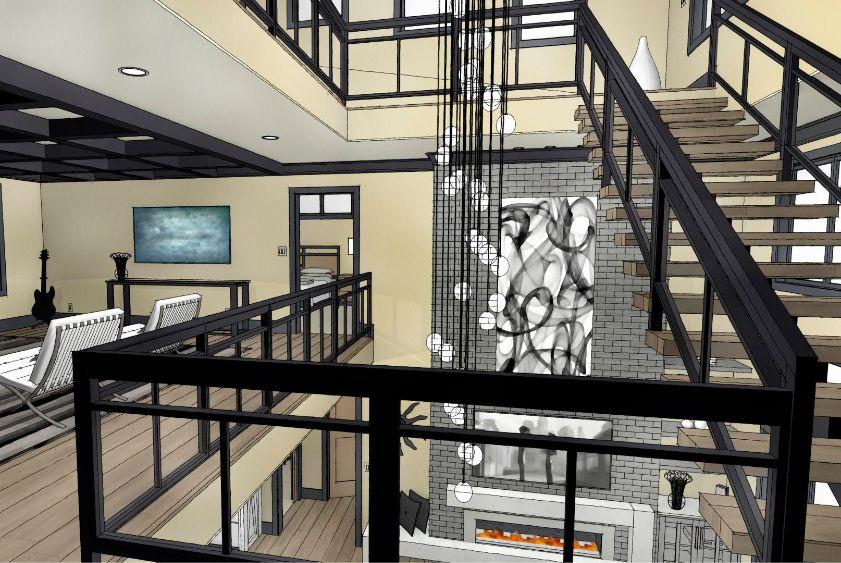 Watercolor rendering of a second floor livingroom
