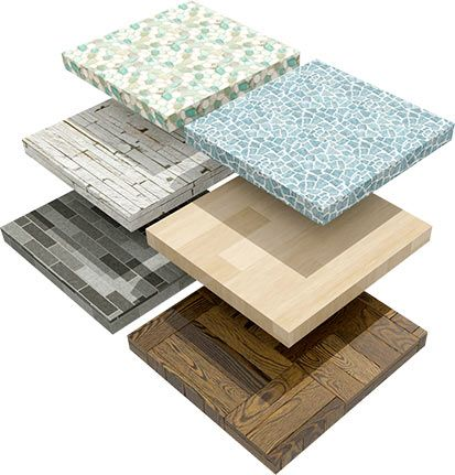 Sample tiles of assorted materials