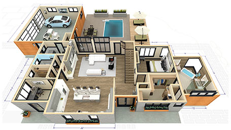 Dollhouse rendering of the Stone Creek house plan.