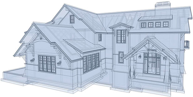 Glass House rendering of the Timber Frame home design.