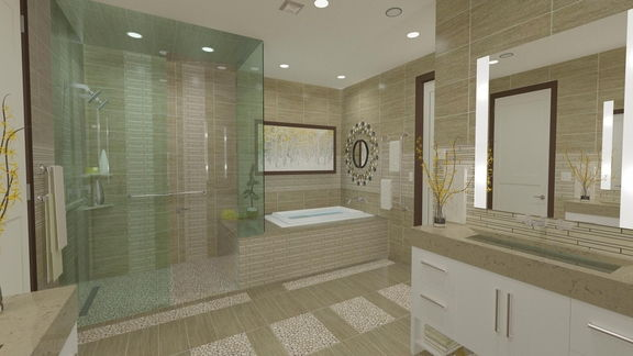 14: Master Bath Room Layout, Vanities & Construction Drawings