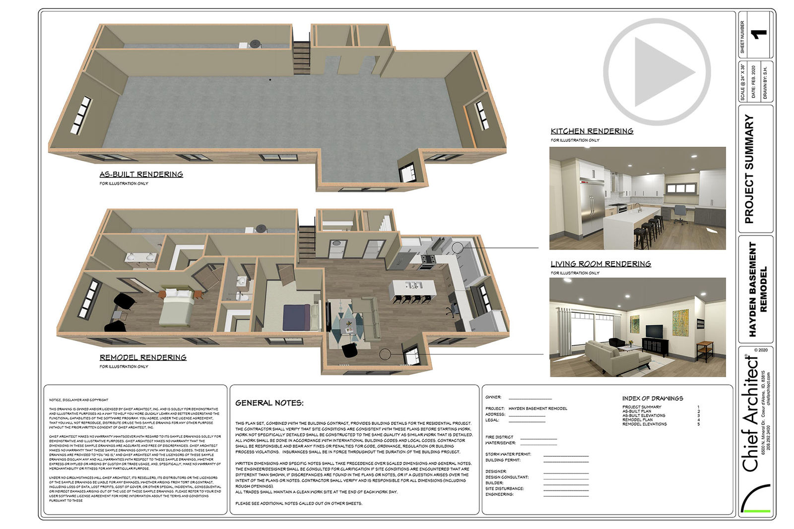 Basement remodel renderings and construction notes