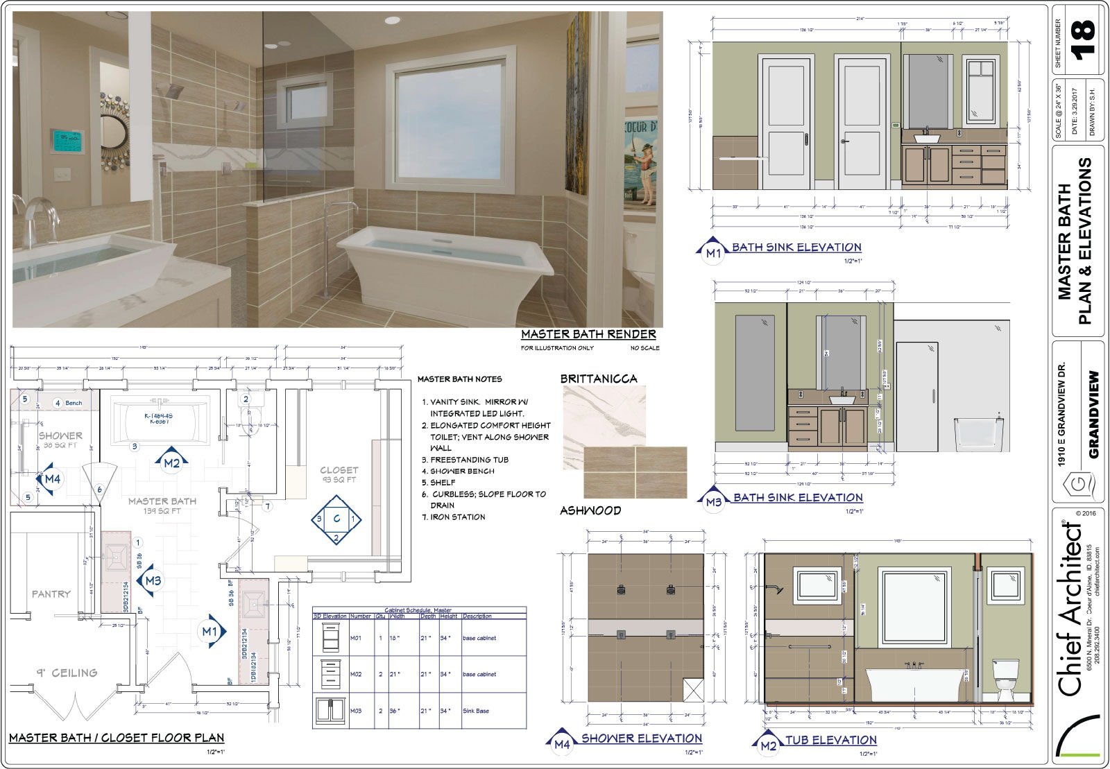 Master bath remodeling 3D rendering, floorplan, wall elevations, and material selections