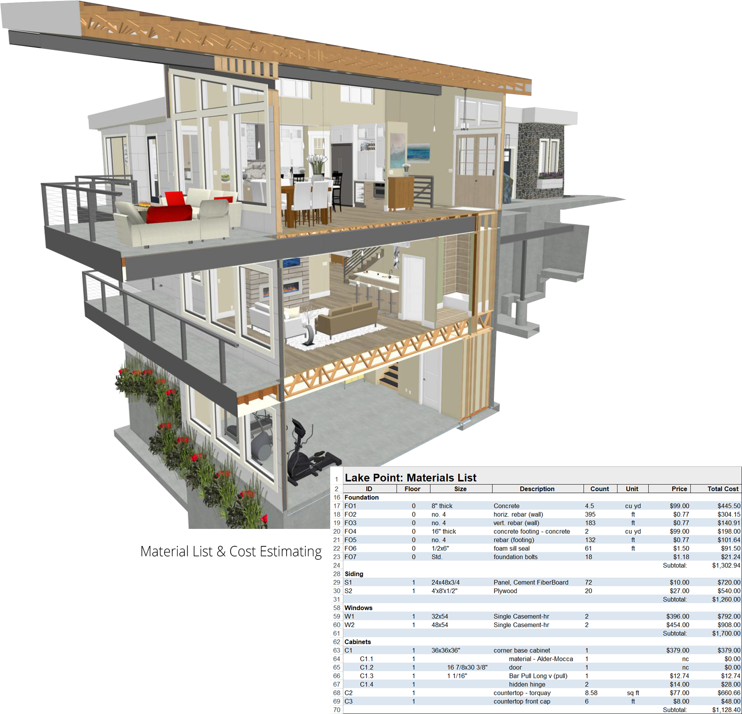 Home addition remodeling, framing, materials lists and cost estimating