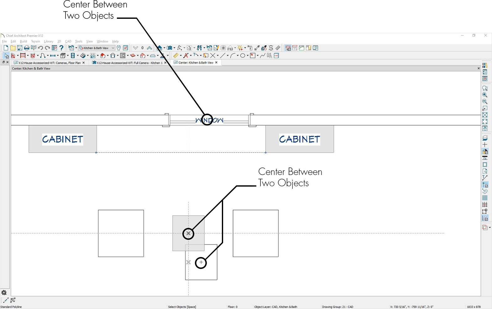A plan view demonstrating how you can now center an object between two other objects.