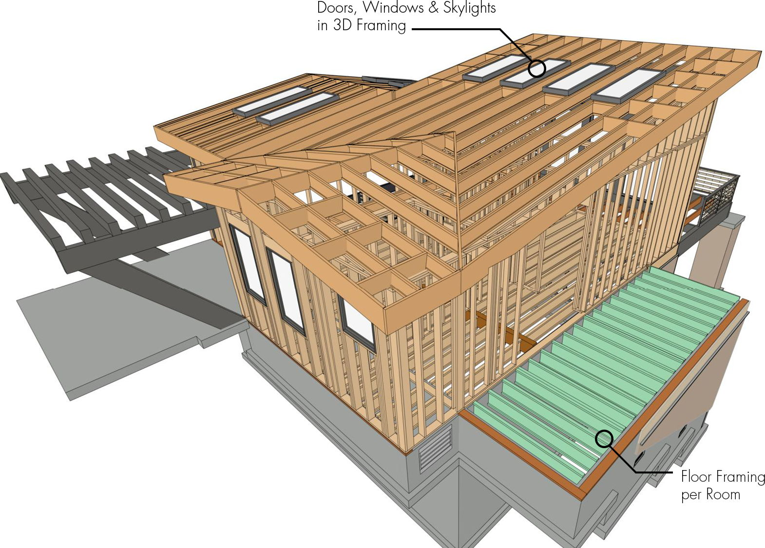 A 3D framing model showing the new framing features in Chief Architect X12.