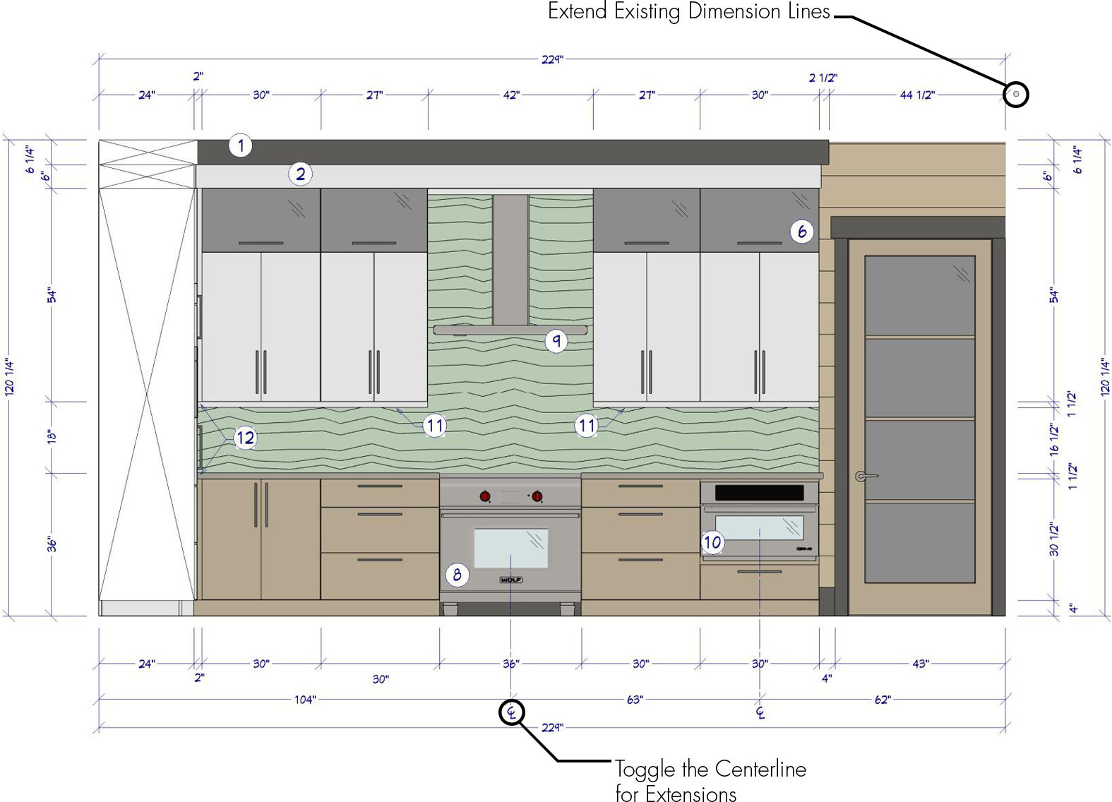 A wall elevation of a kitchen with dimensions.