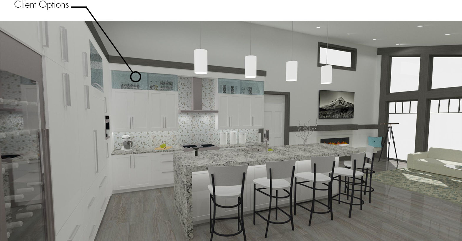 A contemporary kitchen designed in Chief Architect using a rustic, gray and white color palette.