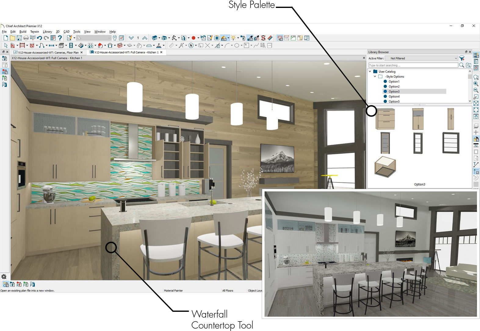 Two types of kitchen views demonstrating the style palette feature in Chief Architect.