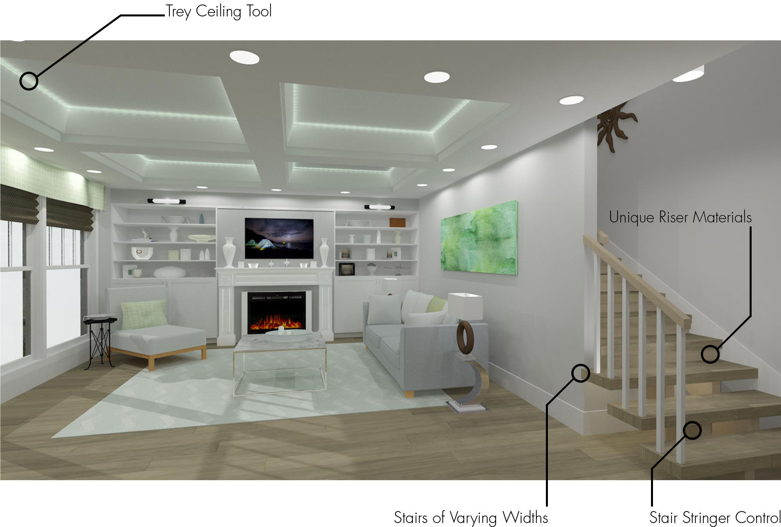 A living room that highlights the new stair and ceiling features in Chief Architect.